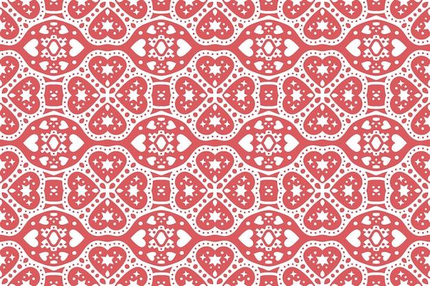 ハートの形をした美しい赤いシームレスパターン