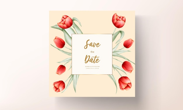 Beautiful red tulip flower wedding card template