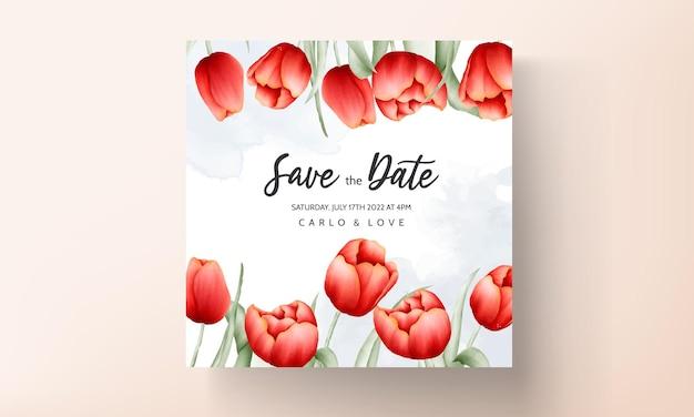 아름 다운 빨간 튤립 꽃 웨딩 카드 서식 파일