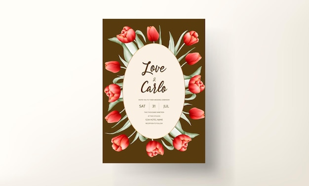 美しい赤いチューリップの花のウェディングカードテンプレート
