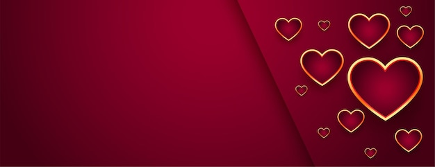 Beautiful red valentines day banner with golden hearts