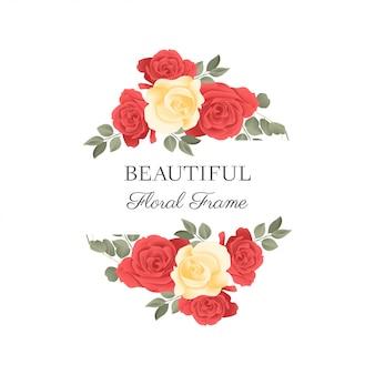 美しい赤黄色のバラの花のボーダー