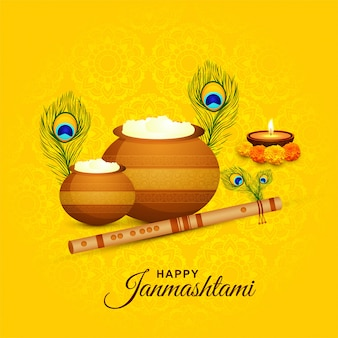 Beautiful religious krishna janmashtami background