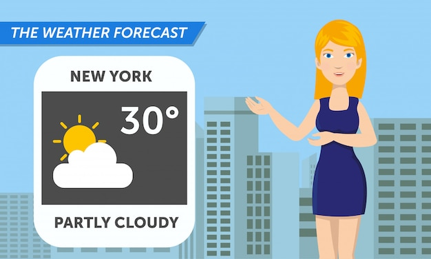 美しい記者が天気を発表しています