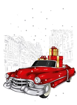 美しいレトロな車とクリスマスプレゼント