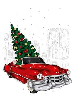 美しいレトロな車とクリスマスツリー