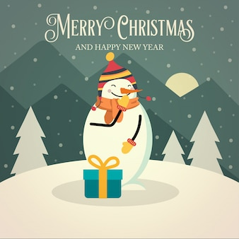 Beautiful retro christmas card with snowman