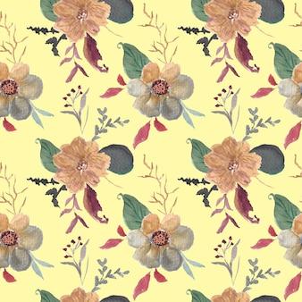 美しいレトロな花の水彩画のシームレスなパターン