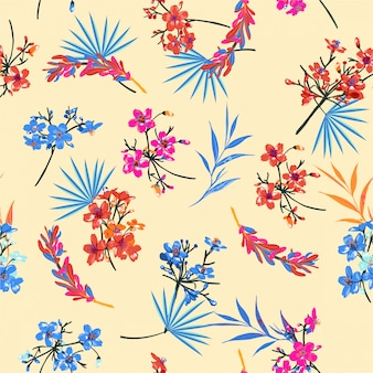 Beautiful retro garden flower pattern. botanical motifs scattered random chinese mood. seamless vector texture. for fashion prints.