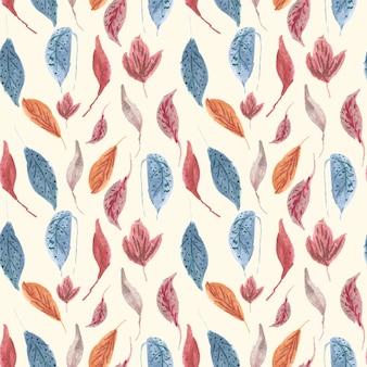 美しいレトロな葉の水彩サンプルパターン