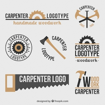 Beautiful retro logos set of carpentry