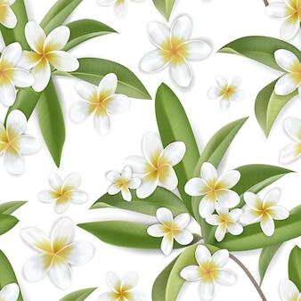 Красивые ретро цветы плюмерии бесшовный фон, цветочный узор тропических джунглей в дизайне векторной иллюстрации для модной ткани, принтов, текстиля, обоев