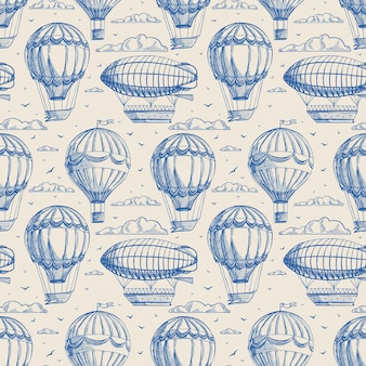 Beautiful retro seamless background with balloons and airships flying to cloudy sky