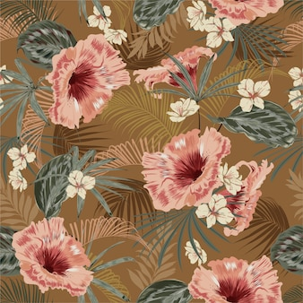 Beautiful retro seamless pattern wallpaper of tropical vintage mood leaves of palm trees