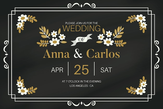 Beautiful retro wedding invitation