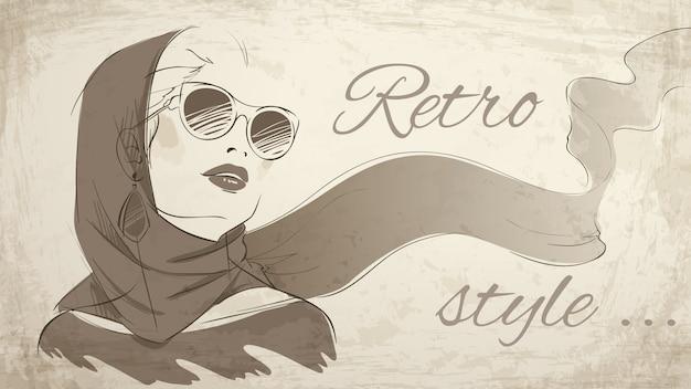 Beautiful retro woman portrait wearing kerchief