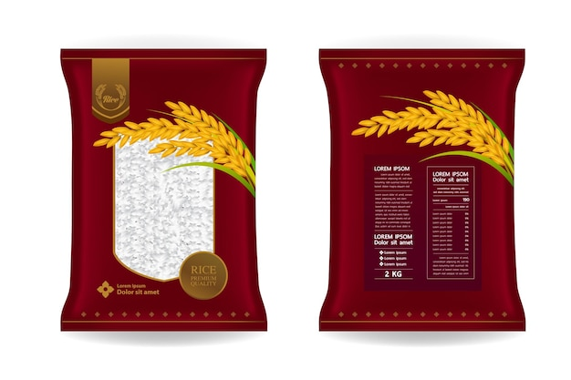 Beautiful rice product package illustration