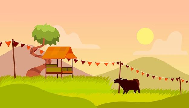 多目的に適した夕日の背景プレミアムベクトルと美しい田んぼ