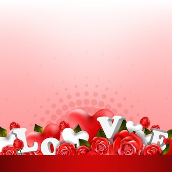 Beautiful romantic background with red roses and leaves. floral arrangement design
