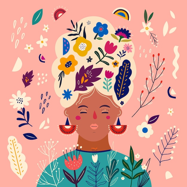 장미, 잎, 꽃 꽃다발과 여자 .. 화려한 봄 디자인과 함께 아름 다운 로맨틱 꽃 그림