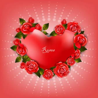 Beautiful romantic heart shape with red roses and leaves