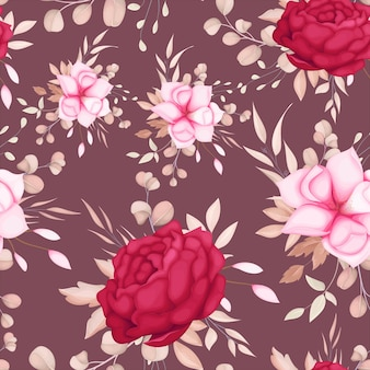 Beautiful romantic maroon flower seamless pattern