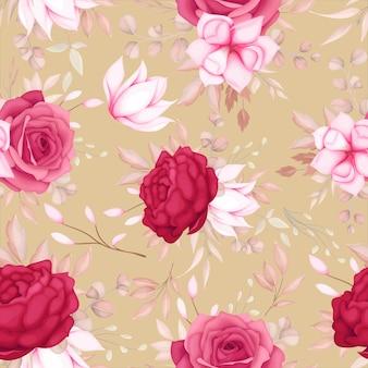 美しいロマンチックな栗色の花のシームレスなパターン