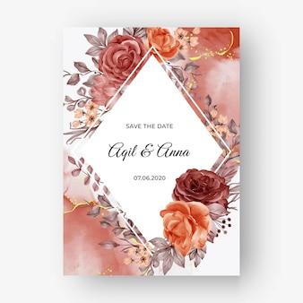 結婚式の招待状の美しいバラの秋の秋のフレームの背景