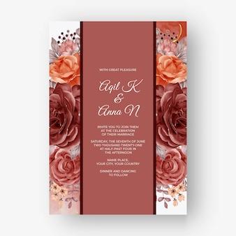 Beautiful rose autumn fall frame background for wedding invitation
