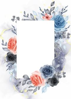 공백 사각형이 있는 아름다운 장미 파란색 주황색 프레임 배경