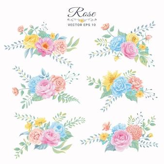 愛の結婚式のバレンタインデーやアレンジメントの招待状のデザインのグリーティングカードのための美しいバラの花と植物の葉のデジタル塗装イラスト。 Premiumベクター