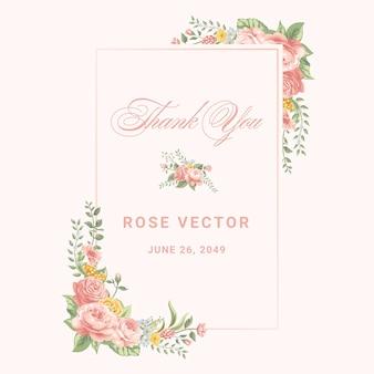 Beautiful rose flower and botanical leaf digital painted illustration for love wedding valentines day or arrangement invitation design greeting card.