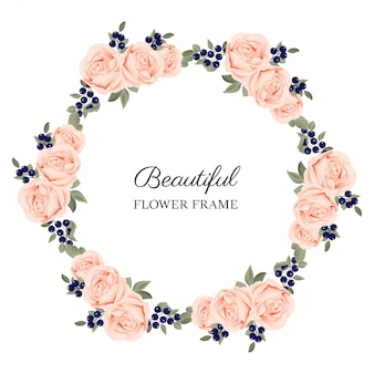 Beautiful rose flower circle frame