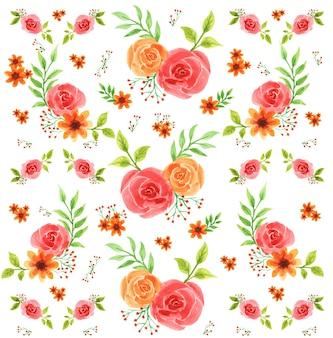 美しいバラの花の水彩パターン