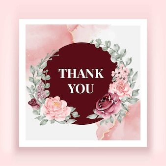 Beautiful rose flower watercolor thank you card