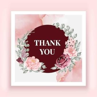 아름다운 장미 꽃 수채화 감사 카드