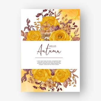 結婚式の招待状の美しいバラのフレーム秋秋の背景
