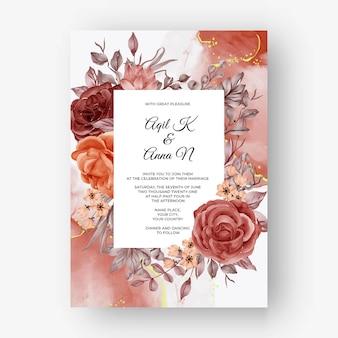 Beautiful rose frame autumn fall background for wedding invitation