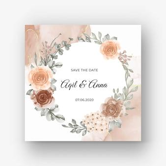 베이지 색 부드러운 파스텔 색상으로 청첩장을위한 아름다운 장미 프레임 배경
