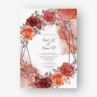ベージュの柔らかいパステルカラーの結婚式の招待状の美しいバラのフレームの背景結婚式の招待状の美しいバラの秋の秋のフレームの背景