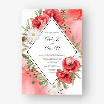 Красивая роза рамка фон для свадебного приглашения с красным цветком мака