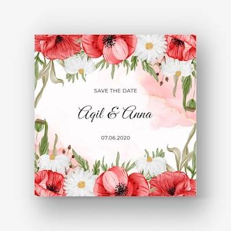 붉은 양귀비 꽃과 청첩장을 위한 아름다운 장미 프레임 배경