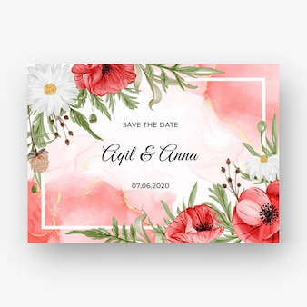 赤いポピーの花と結婚式の招待状の美しいバラのフレームの背景