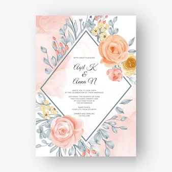 柔らかいパステルカラーで結婚式の招待状の美しいバラのフレームの背景
