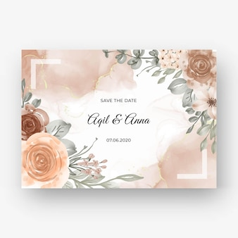 Bellissimo sfondo cornice rosa per invito a nozze con colore pastello morbido beige