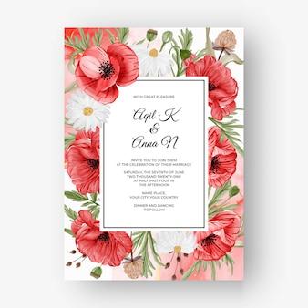 Bellissimo sfondo cornice rosa per invito a nozze con fiore di papavero rosso