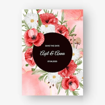 Beautiful rose frame background for wedding invitation with red poppy flower