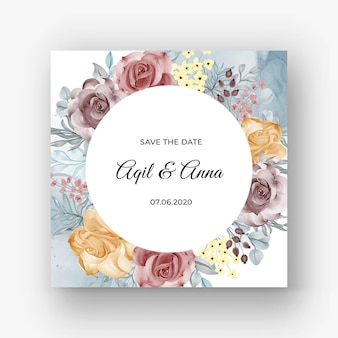 Beautiful rose frame background for wedding invitation with soft pastel autumn