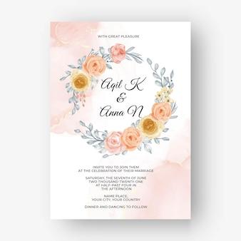 Bellissimo sfondo cornice rosa per invito a nozze con tenui colori pastello