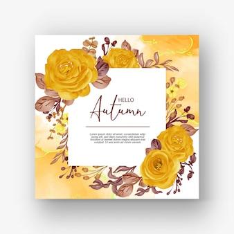美しいバラのフレームこんにちは秋の背景